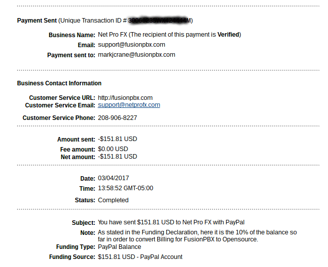 Donation to FusionPBX Project